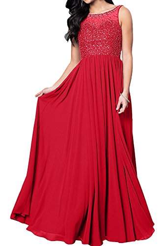 Lang Braut Partykleider Damen La Festlichkleider Marie Ballkleider Hundkragen Abendkleider Rot qBACICw
