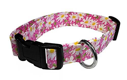 Elmo's Closet Dog Collar - Daisies on Pink (Medium)