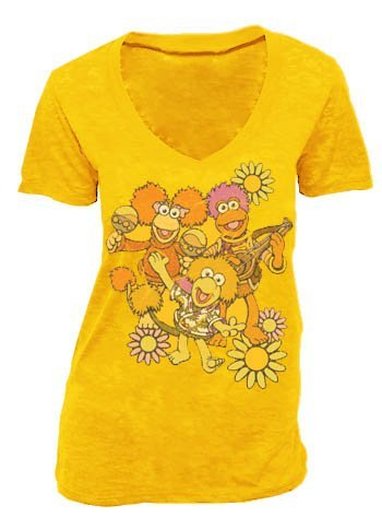 (Fraggle Rock Flower Group Golden Amber Juniors Tee T-Shirt (Juniors X-Large))