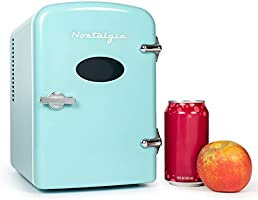 Nostalgia RF6RRAQ Retro 6-Can Personal Cooling and Heating Mini Refrigerator with Carry Handle for Home Office, Car,...