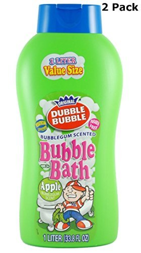 Apple Scented Bubble Bath - Original Dubble Bubble Apple Scented Bubble Bath Extra Large Liter Bottle 33.8 Oz. (2)