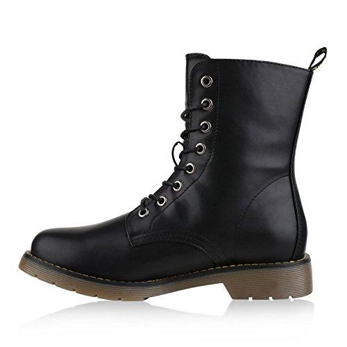 Damen Stiefeletten Schnürstiefeletten Lack Plateau Boots Profilsohle Leder-Optik Worker Boots Zipper Blumen Übergrößen Flandell Schwarz Black