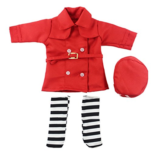 Dovewill Doctor Nurse Uniform Set for 14in American Girl Journey Dolls Outfit Clothes Red -