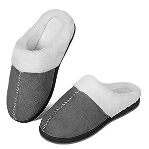 Chaussons d'hiver pour homme et femme en mousse à mémoire de forme – Confortables – En peluche – Antidérapants – Pour l…