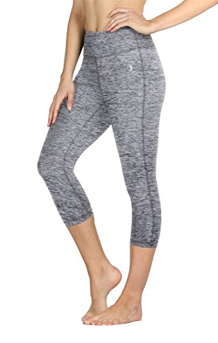 icyZone Women Workout Clothes Athletic Leggings Capri Activewear Hot Yoga Pants (M, Athletic Grey)
