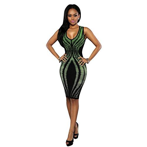 Hip Dress Bodycon Clubwear V Women Sleeveless Stripe Neck Green Sexy Print aYAwqzpA