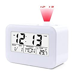 Projection Alarm Clock,JJCALL Digital Clock with 5 LED Display Calendar Battery Operated for Home Office Bedrooms Desk Hourly Chime