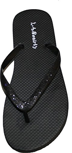 Black Style Glitter With Looking Flip Straps Flop Cool Footbed Womens and Comportable H6AwPRx