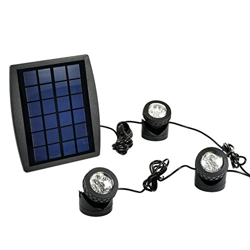 Solar Powered Pond Lights (Exlight LED Solar Powered Submersible Outdoor Lamps RGB Color Changing Landscape Ambiance Lighting for Outdoor Garden Pond Pool Underwater)
