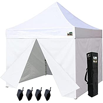 Eurmax 10 x 10 Pop up Canopy Commercial Tent Outdoor Party Shelter with 4 Zippered Sidealls and Carry Bag Bonus Canopy Sand Bags White  sc 1 st  Amazon.com : 10x10 commercial canopy - memphite.com