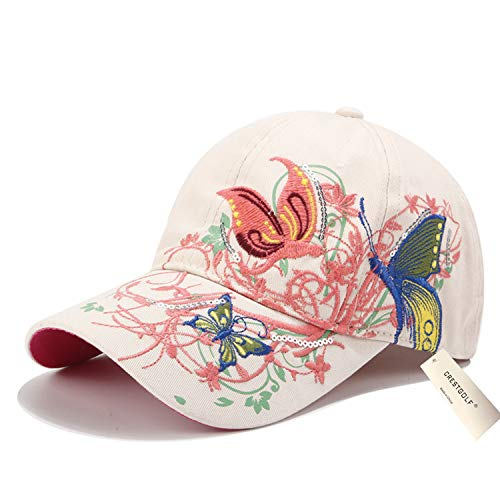 Taihemingna 2018 New Women Cotton/Embroidered Caps Butterfly Hat Hat Flower Baseball Sport Golf Adjustable Breathable Sun Hat Baseball Running Cap Sunhat Mesh Sunbonnet Outdoor (White)