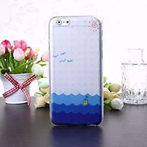 Fashionable Sea Pattern Transparent TPU Soft Case for iPhone 6 Plus Protective Case