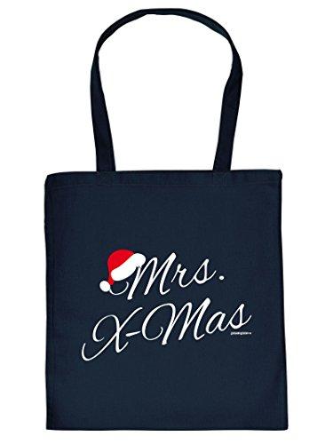 Weihnachten kommt immer näher - Stofftasche mit Druck - Mrs. X-Mas - Must-have, Geschenkidee. Navy-Blau