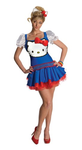 [Secret Wishes  Hello Kitty Classic Dress, Blue, Large] (Hello Kitty Costume For Adults)