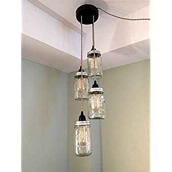 Industrial rewind mason jar chandelier swag light no hard wiring industrial rewind mason jar chandelier swag light no hard wiring just hang it aloadofball Gallery