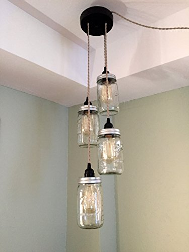 Mason Jar Chandelier Swag Light - NO Hard Wiring!! Just hang it up and plug it in!! (Sand Cord)