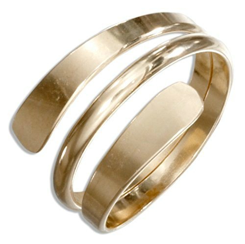 - 14k Gold Filled Yoga Wire Wrap Band Adjustable Thumb Ring