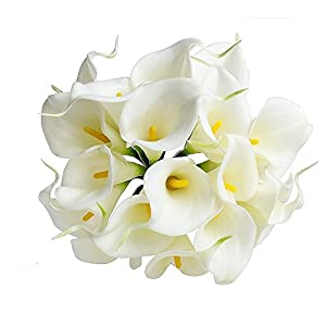 Lily Calla - Calla Lily Bridal Wedding Bouquet 20 Head Latex Real Touch - Garland Leaves Silk Marker Arrangement Plants Silver Baby Daisies Dollar Bouquet Stephanotis Calla Hydrangea Daisy Bundle 20