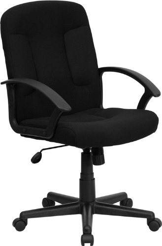 Flash Furniture Mid-Back Black Fabric Executive Swivel Chair with Nylon - Nylon Arms