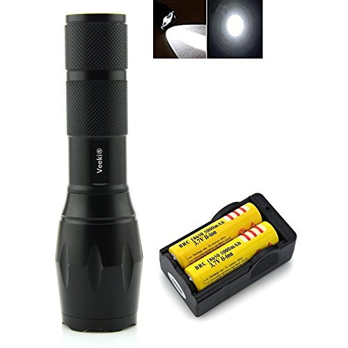 Veeki Zoomable Scalable LED Flashlight Cree-xml T6 Waterproof Flashlight 900 Lumen Cree XML T6 Tactical Torch Glim Lantern with 2* 18650 Rechargeable Battery and 18650 Channel Charger