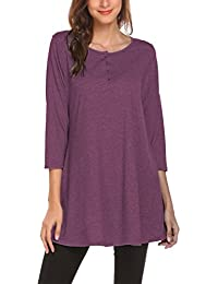 Womens Loose 3/4 Sleeve Swing Buttons Tunic Tops Henley T Shirts with Pockets