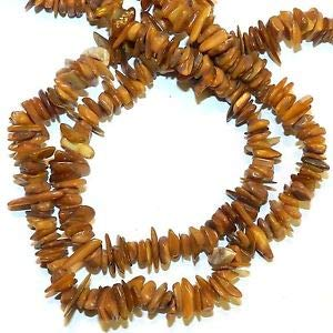 Steven_store MP2480f Burnt Orange Large 7mm - 12mm Flat Chip Mother of Pearl Shell Bead 34