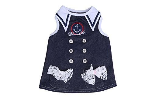 Cute Dog Outfits - Cotton Cute Pet Cat Dog Clothes Marine Sailor Outfit Sleeveless Dress (M, Dark blue)