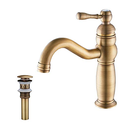 GGStudy Single Handle One Hole Bathroom Sink Faucet Basin Mixer Tap Antique Brass Supply Hose Include