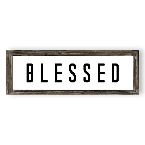 Blessed Wood Sign | Farmhouse Signs Christian Rustic Home Wall Decor Wooden Wall Art Religious Signs with Sayings and Quotes Framed Wall Plaque Entryway Sign