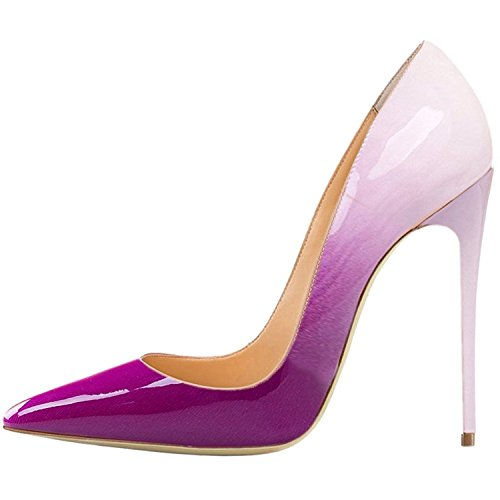 Heel High Colored - Lovirs Womens Purple-A Pointed Toe High Heel Slip On Stiletto Pumps Wedding Party Basic Shoes 9 M US