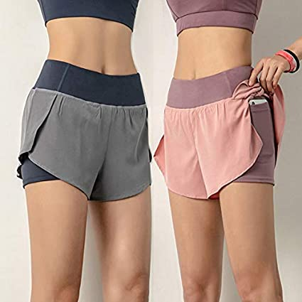 Womens Double Layer Running Sports Shorts Breathable Quick Dry Gym Yoga Workout Jogging Pants Training Joggers Shorts With Phone Pocket FZAY Running Shorts