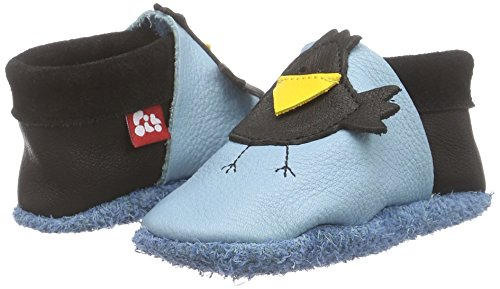 Pololo POLOLO Rabe Karl - pantuflas de cuero Niños^Niñas azul - Blau (Babyblue / Nero)