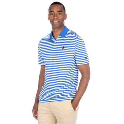NIKE Men's Dry Victory Stripe Polo Golf Shirt, Game Royal/White/Black, Medium