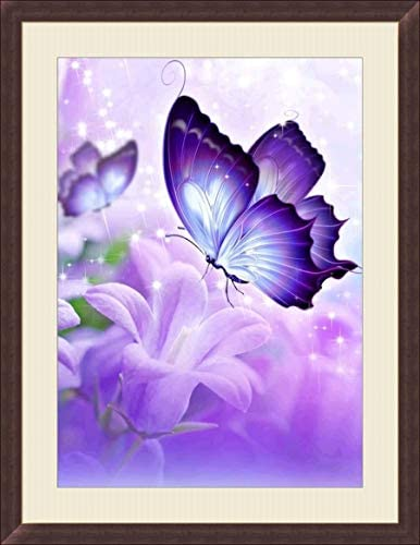BELLCAT Butterfly Diamond Painting- 5d Diamond Painting Kits, Full Coverage, Round Rhinestone, DIY Tool Kit Art Supplies- Fun Gifts for Adults&Children, Craftwork for Indoor Décor(q147)