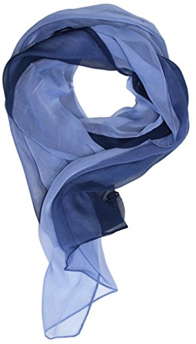 Just Libby-Women's Silk Blend Ombre Oblong Scarf Blues,60 inches long by 18 inches wide