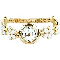 Relojes Rbenxia Reloj pulsera de cuarzo flor margarita rosa dorada, Regalo para mujer/chica