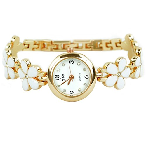 Rbenxia Watches Rose Gold Daisies Flower Bracelet Quartz Wri