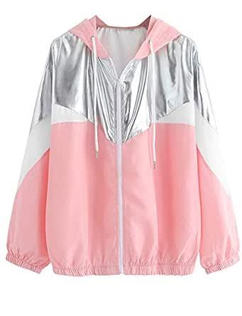 Romwe Women's Colorblock Long Sleeve Loose Zip Up Drawstring Windbreaker Hoodie Jacket Pink XS