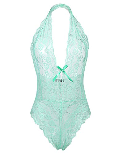 (ADOME Women Teddy Lingerie Sexy Lace Bodysuit Deep V Lingerie One Piece, Style 1-Green, Small)