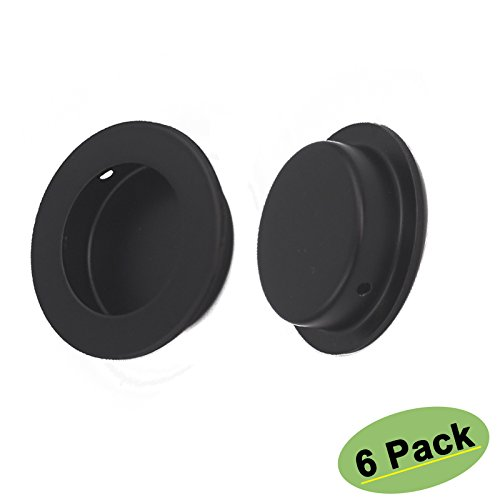 Black Circular Flush Door Pull Recessed Sliding Door Handles 6 Pack - Homdiy MC001-50BK Pocket Door Hardware Pulls Round 2in Diameter Cabinet Closets Door Finger Pull Stainless Steel