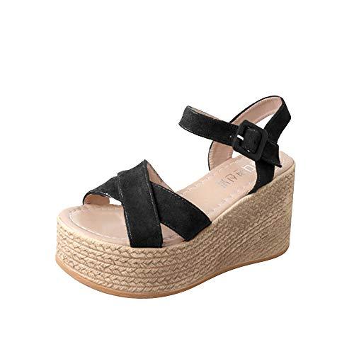 【MOHOLL】 Womens Closed Toe Espadrilles Platform Mid Wedge Heel Shoes Ankle Strap Sandals Black