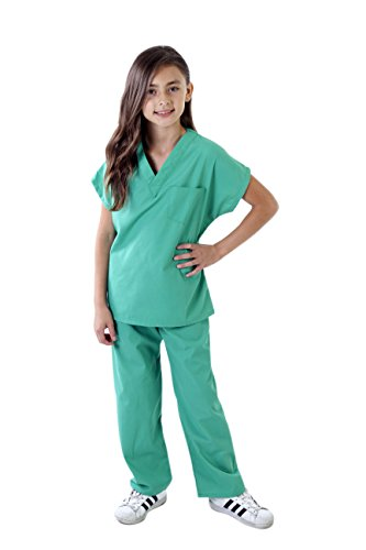 Natural Uniforms Childrens Scrub Set-Soft Touch (12/14, Surgical Green) -