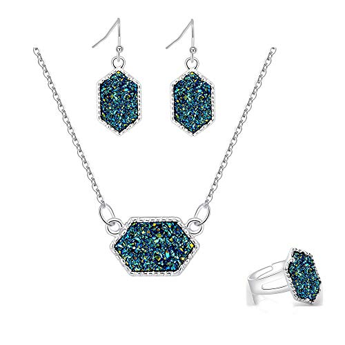 - MissNity Women Faux Druzy Jewelry Set Drusy Necklace Dangle Earring Ring Silver Plated Green Hexagon Pendant Birthday Gift for Her (Green)