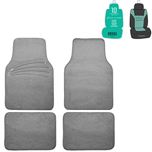 (FH Group F14401 Premium Carpet Floor Mats with Heel Pad, Gray Color w. Free Air Freshener- Fit Most Car, Truck, SUV, or Van)