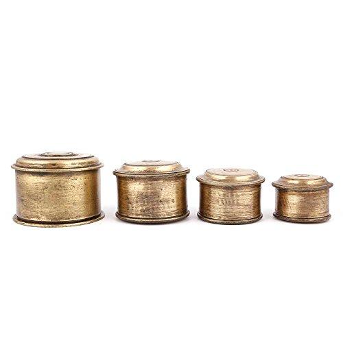 IndianShelf Handmade Decorative Bronze Set Of 4 Circular Storage Box Online by Indian Shelf