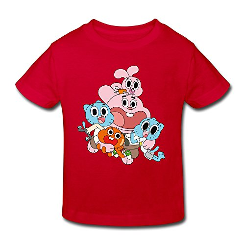 Radyk56rtyh Toddler's 100% Cotton The Amazing World of Gumball Funny T-Shirt Red US Size 4 Toddler]()