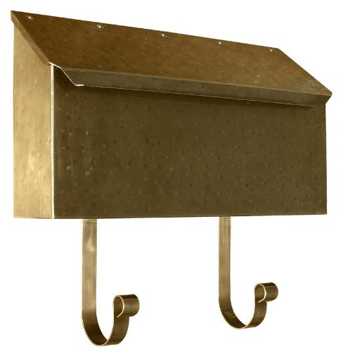 Horizontal Wall Mount Mailbox in Hammered Antique - Copper Hammered Mailbox