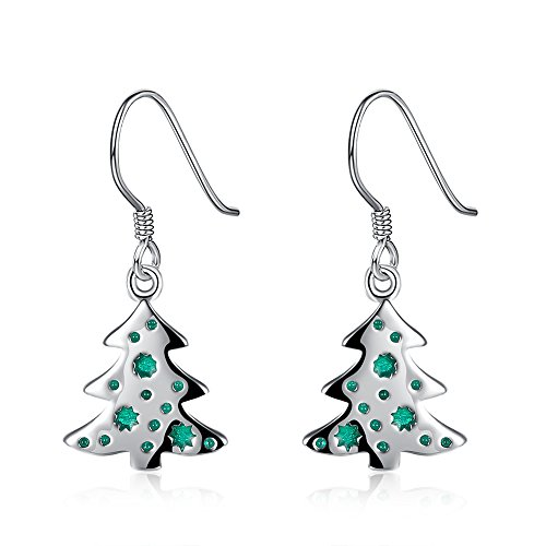 Christmas Tree Dangle Earrings - Silver Hypoallergenic Enamel Xmas Green Tree Drop Earrings for Women Girls Holiday Party Small Cute Christmas Costume Jewelry Christmas Gift (Fun Christmas Party Ideas)