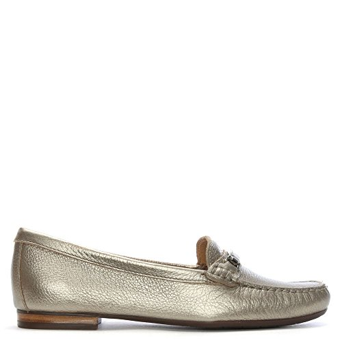 Daniel Tano Silver Metallic Pebbled Leather Loafers Silver Metalic