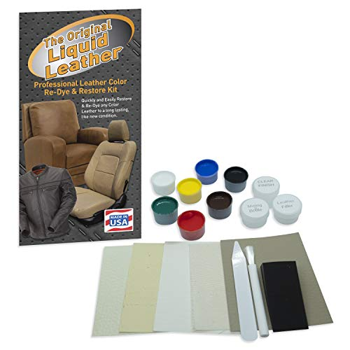 Liquid Leather Repair and Re-Color Kit for All Vinyl & Leather. Restores to New Condition; Car Seats, Boats, Upholstery, Sofas, Chairs, Leather Coats, and More (Best Leather Seat Repair Kit)